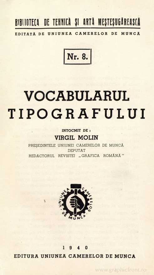 Virgil Molin, Vocabularul tipografului (1940)