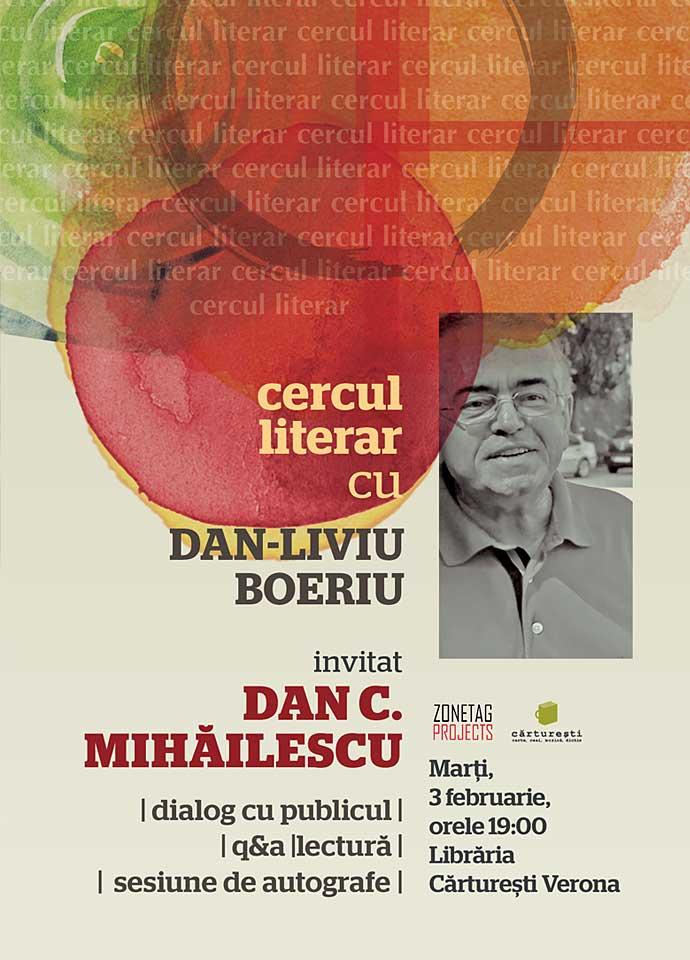 Dan. C. Mihăilescu la Cercul literar, mâine la Cărturești Verona
